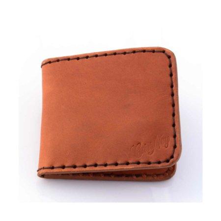 Porte-cartes bancaires en cuir marron cognac