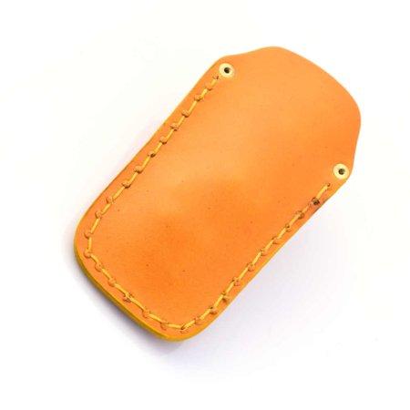 Étui à clés ou porte-clés jaune en cuir - fabrication artisanale