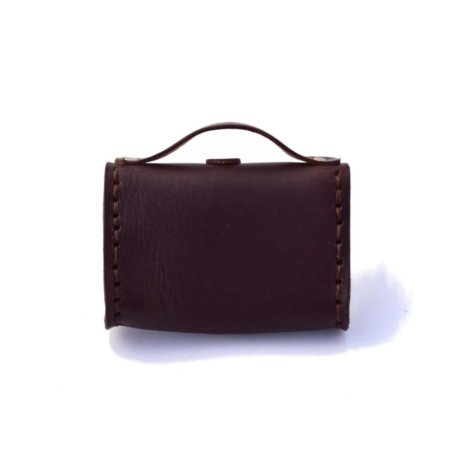 "Porte monnaie en cuir marron chocolat de type ""Cartable"""