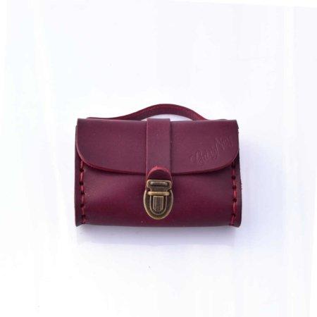 """Porte monnaie en cuir rouge Bordeaux de type """"Cartable"""""""
