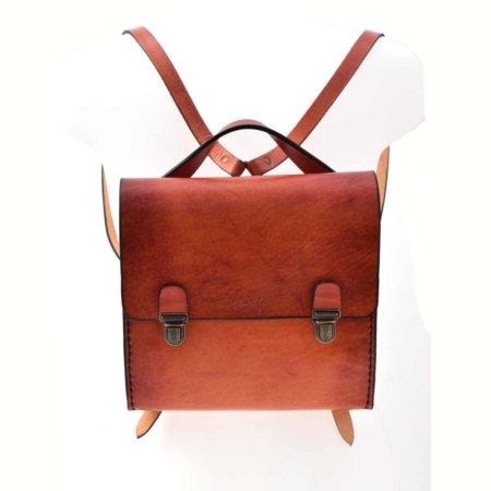 "Sac à dos en cuir ""modèle moyen"" - fabrication artisanale"