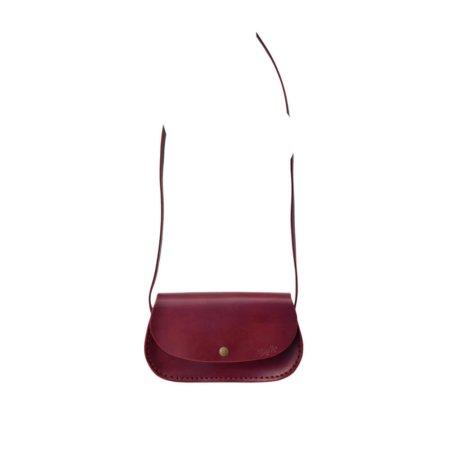"""Sac rouge Bordeaux en cuir avec bandoulière """"Ava"""""""