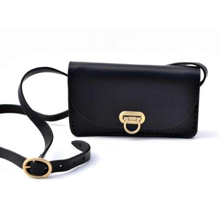 """Petit sac noir en cuir pour femme """"Mimi"""""""