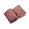 Portefeuille en cuir marron fauve à 3 volets